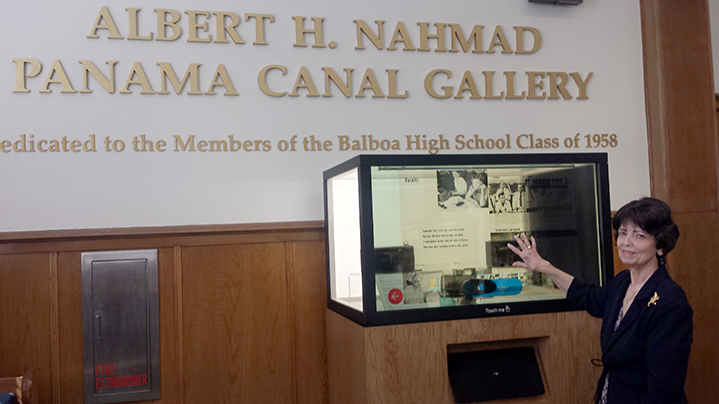 Dean Judith Russell with the interactive MagicBox in the Panama Canal Gallery