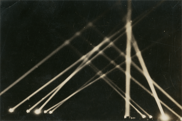 Anti-aircraft searchlights over the Panama Canal