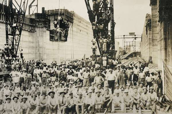 Construction Crews in a Lock Chamber of the Panama Canal