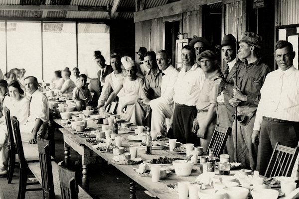 People eating a meal, Panama Canal