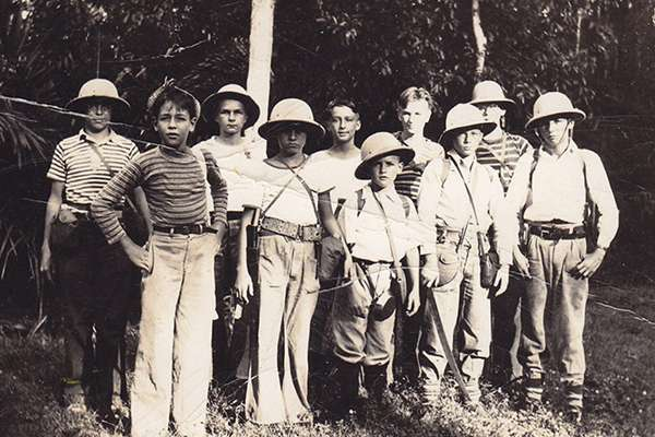 Scout Troop 10 in the jungle near the Panama Canal