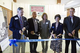 Ribbon cutting with Joseph Wood, Albert H. Nahmad, Jane Nahmad, Judith Russell and Joseph Glover.